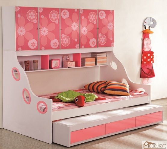Coloured Girls Pink Kids Bedroom Furniture And: Pink Girl Kids Beds With Storage Children Beds With