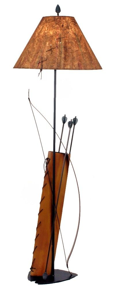 Southwestern Bow U0026 Quiver With Arrows Metal Floor Lamp U0026 Shade 61.5 Inch  Tall American Made