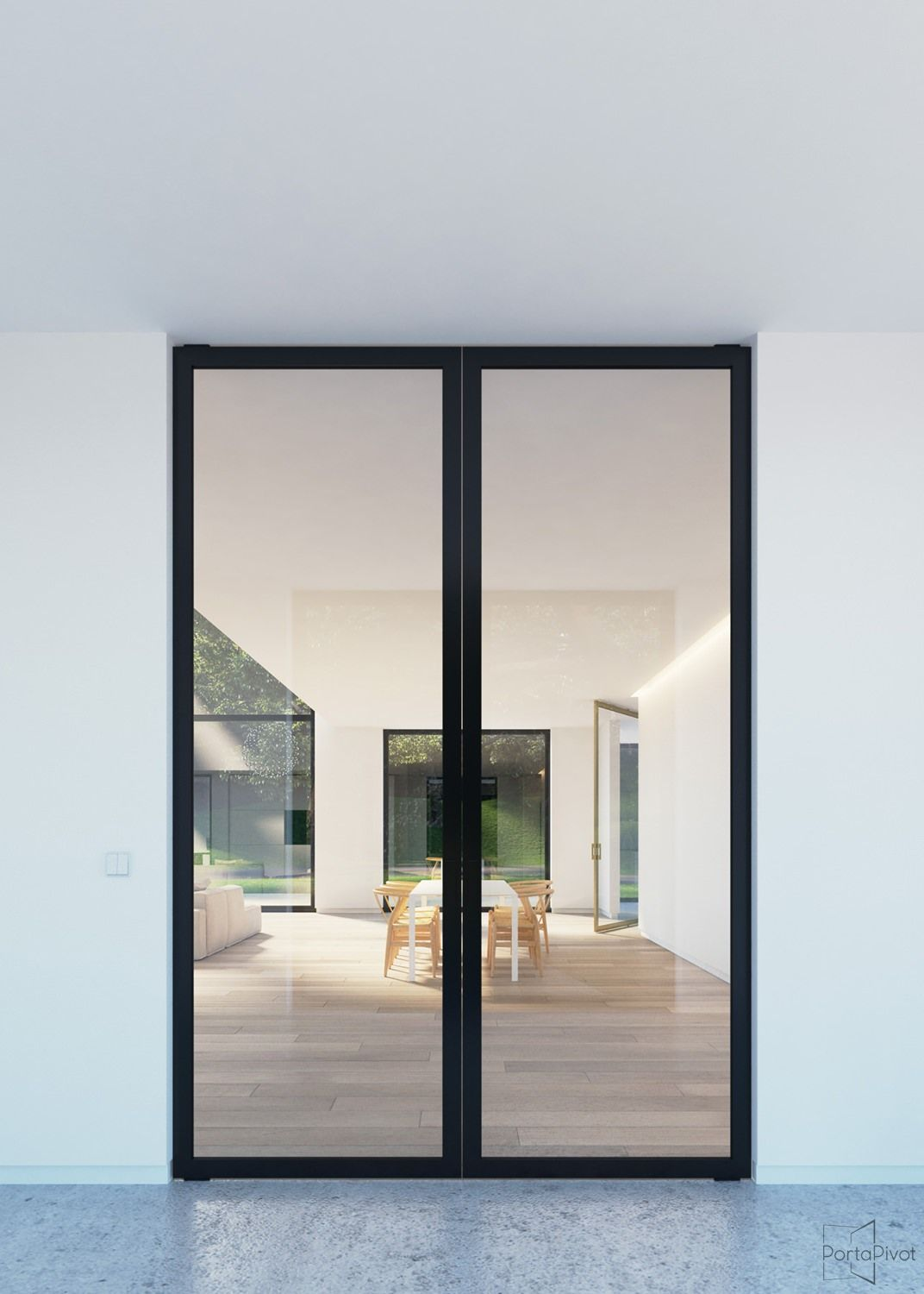 Double glass pivot doors with black anodized aluminium