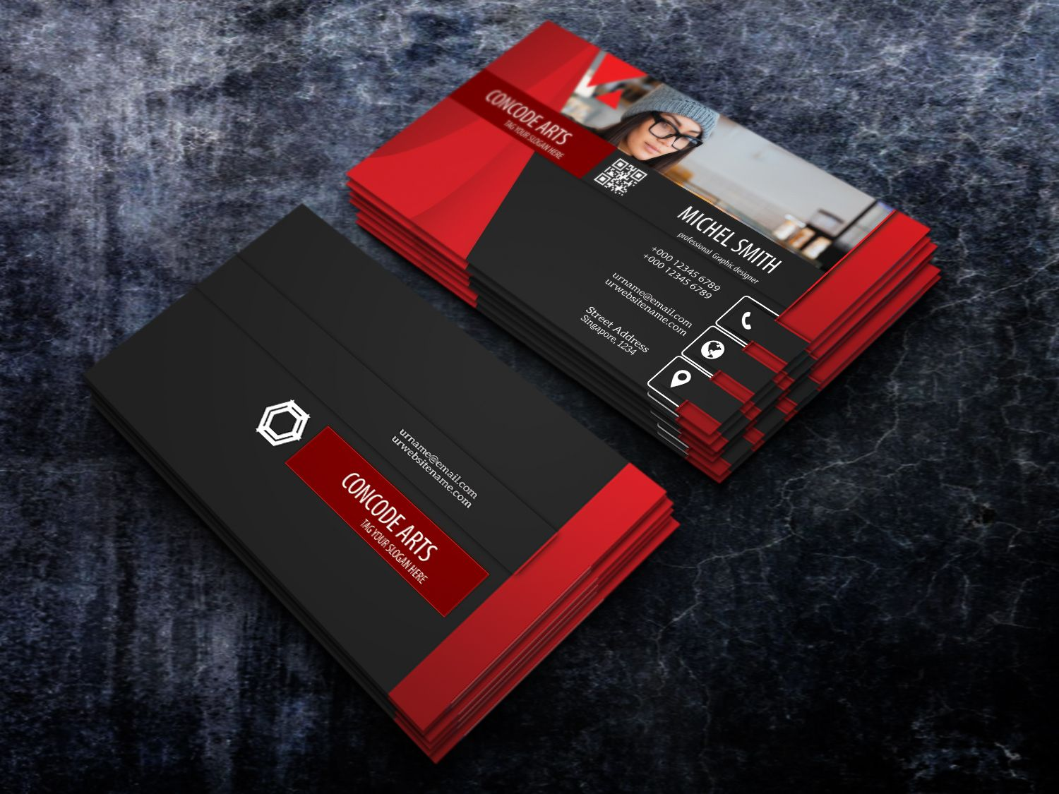 Free Download Black And Red Colour Professional Business Card Colorful Business Card Professional Business Cards Professional Business Cards Templates