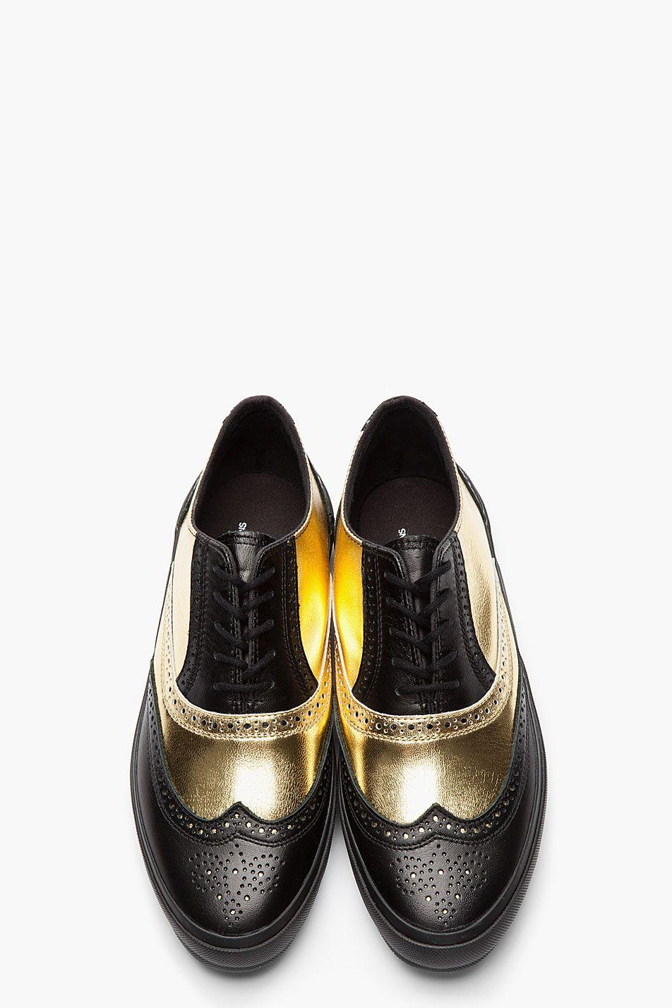 8468afbe104a8b COMME DES GARÇONS HOMME PLUS Black   Metallic Gold Leather Wingtip Brogue  Sneakers