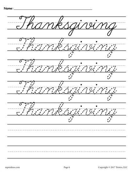 10 FREE Seasons and Holidays Cursive Handwriting Worksheets ...