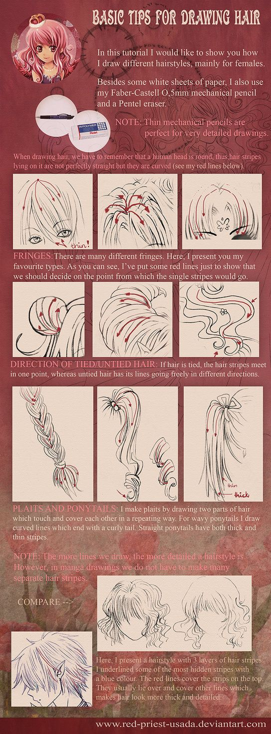 Tutorial Drawing Hair By Red Priest Usada On Deviantart How To Draw Hair Drawing Tutorial Drawings
