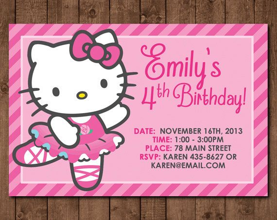 Personalized hello kitty ballerina diy printable birthday personalized hello kitty ballerina diy printable birthday invitation 4 x6 pdf jpg file filmwisefo Image collections