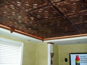 Copper Ceiling Tiles Backsplash