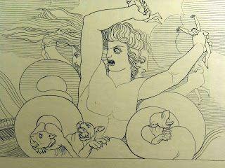 """Scilla """" sei de' compagni, i più di man gagliardi, Scilla rapimmi dal naviglio"""" ( libro XII, 316-317)"""