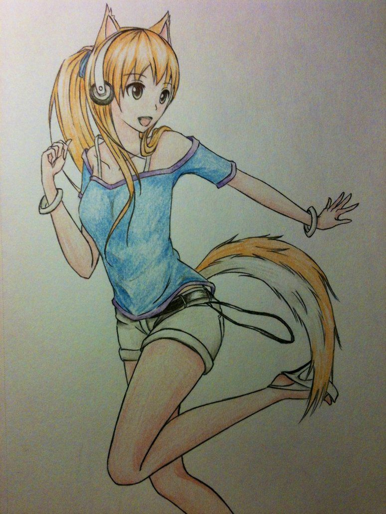 Anime Girl With Wolf Ears And Tail