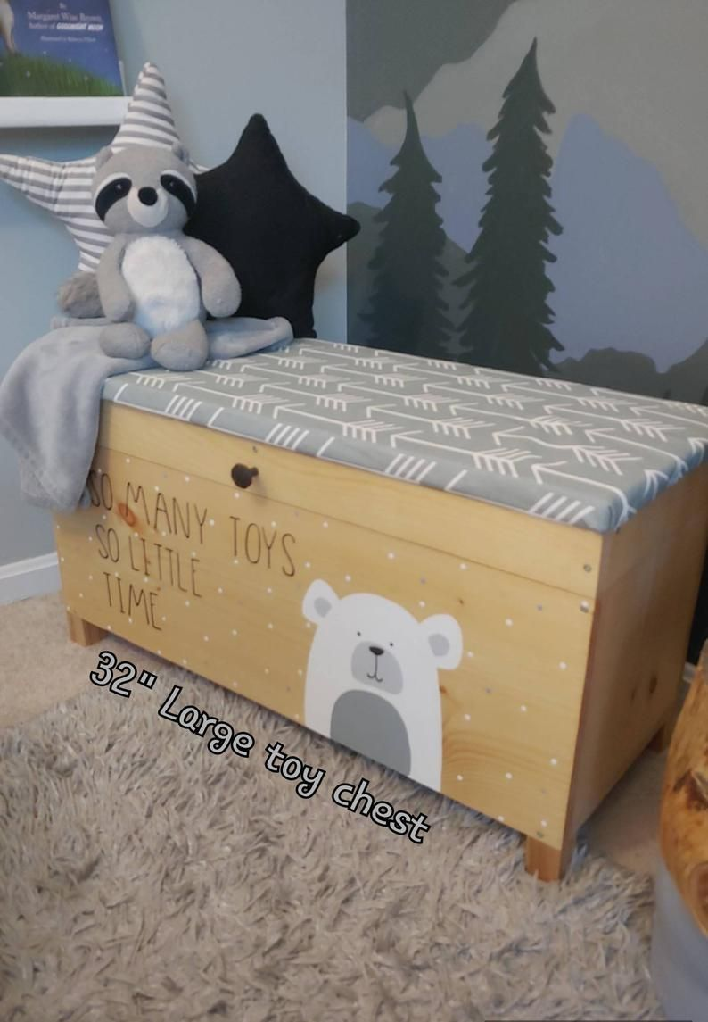 Toy Box Rolling Toy Box Toy Box Kids Toy Chest Wood Toy Box Toy Box On Wheels Personalized Name Custom Toy Box Woodland Bear