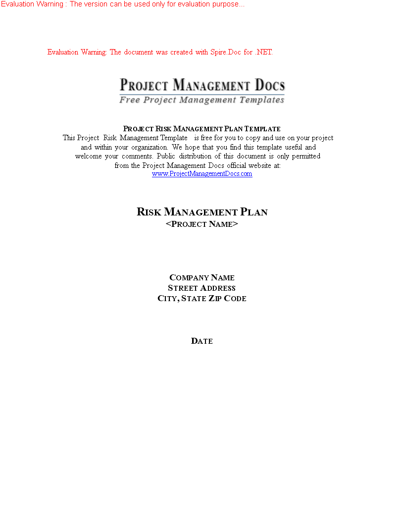 Risk Management Plan Template  Pmbok Project Risk Management Plan
