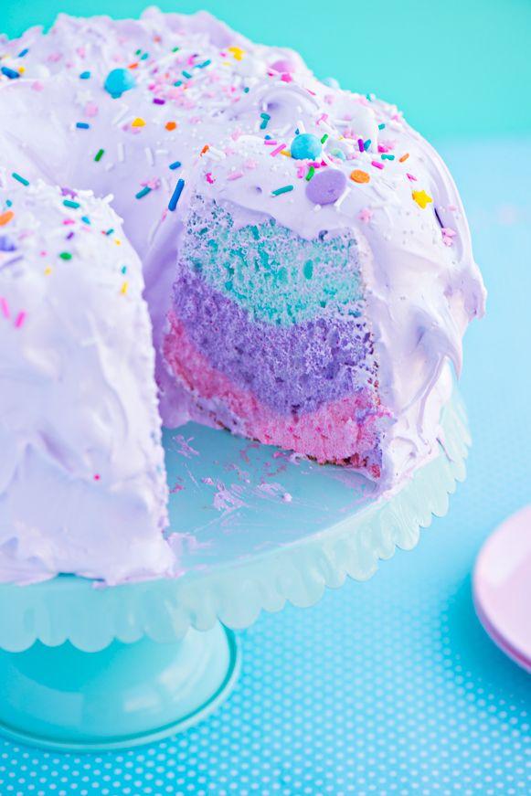 Pastel Angel Food Cake Recipe Cute Desserts Desserts Unicorn
