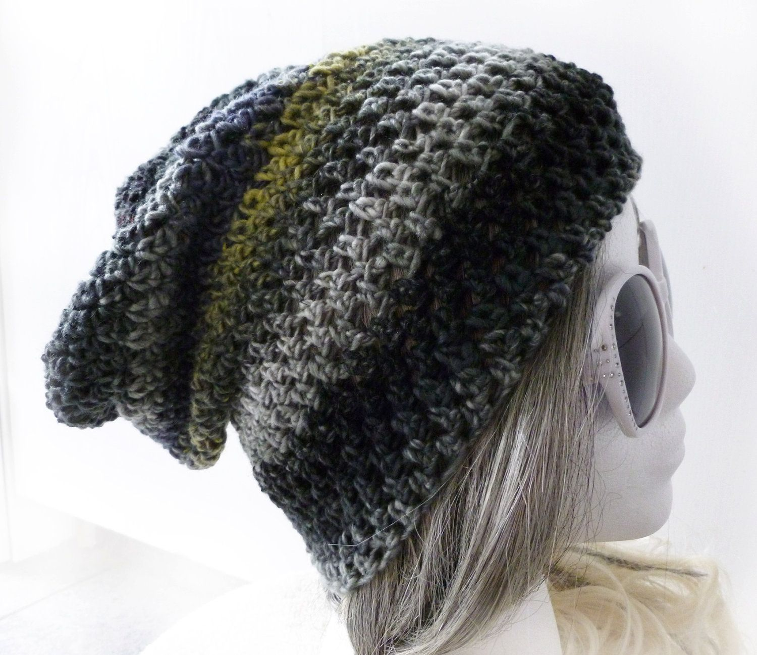 Slouchy Beanie Mens Crochet Hat Gray Slouch Hat Gaming Headset ...