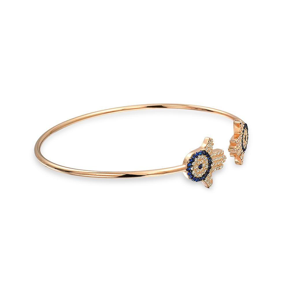 Photo of Hamsa Hand Evil Eye Bangle Cuff Bracelet Rose Gold Plated Sterling