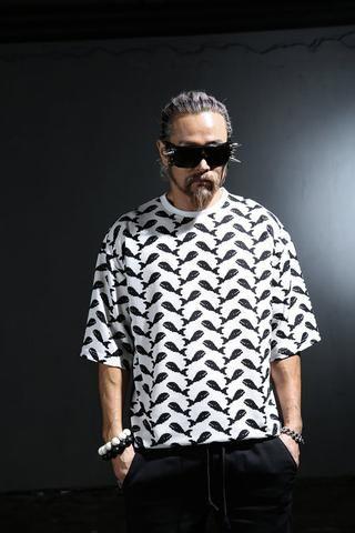 Loose Top/ naive american/ Mens whalws pattern marine t shirts