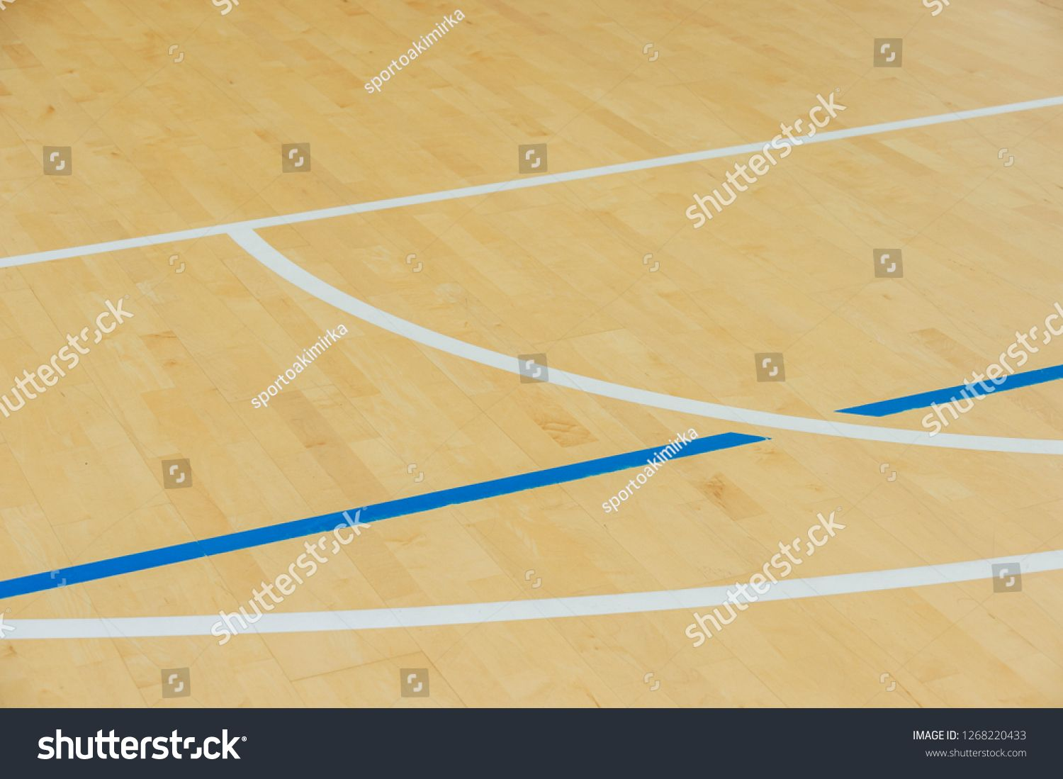 Wooden Floor Volleyball Basketball Badminton Futsal Handball Court With Light Effect Wooden Floor Of Sports Hall With Marking Sport Hall Handball Badminton