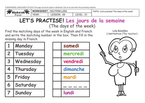 FRENCH-Y3/4-AT SCHOOL- The days of the week/ Les jours de la ...