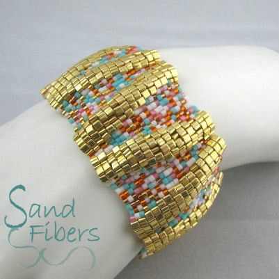 Large Golden Summer Ripples Peyote Cuff - An Original Sand Fibers Creation by SandFibers on Etsy https://www.etsy.com/listing/181604152/large-golden-summer-ripples-peyote-cuff