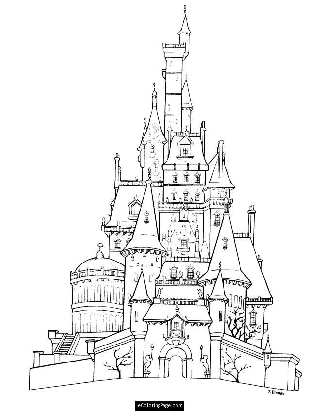 Disney Beauty and the Beast Castle Printable Coloring Page | Artist ...