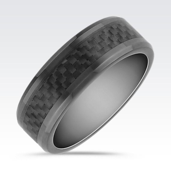 Carbon Fiber Diamontrigue Jewelry: Black Cobalt And Carbon Fiber Ring (8mm)