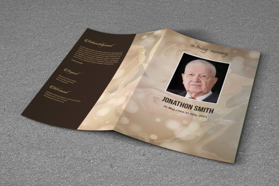 Printable Funeral Program Template  Obituary Program Template