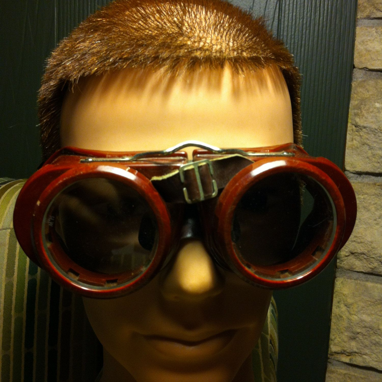 Vintage Maroon & Black Welsh Mfg. Co. Safety Goggles