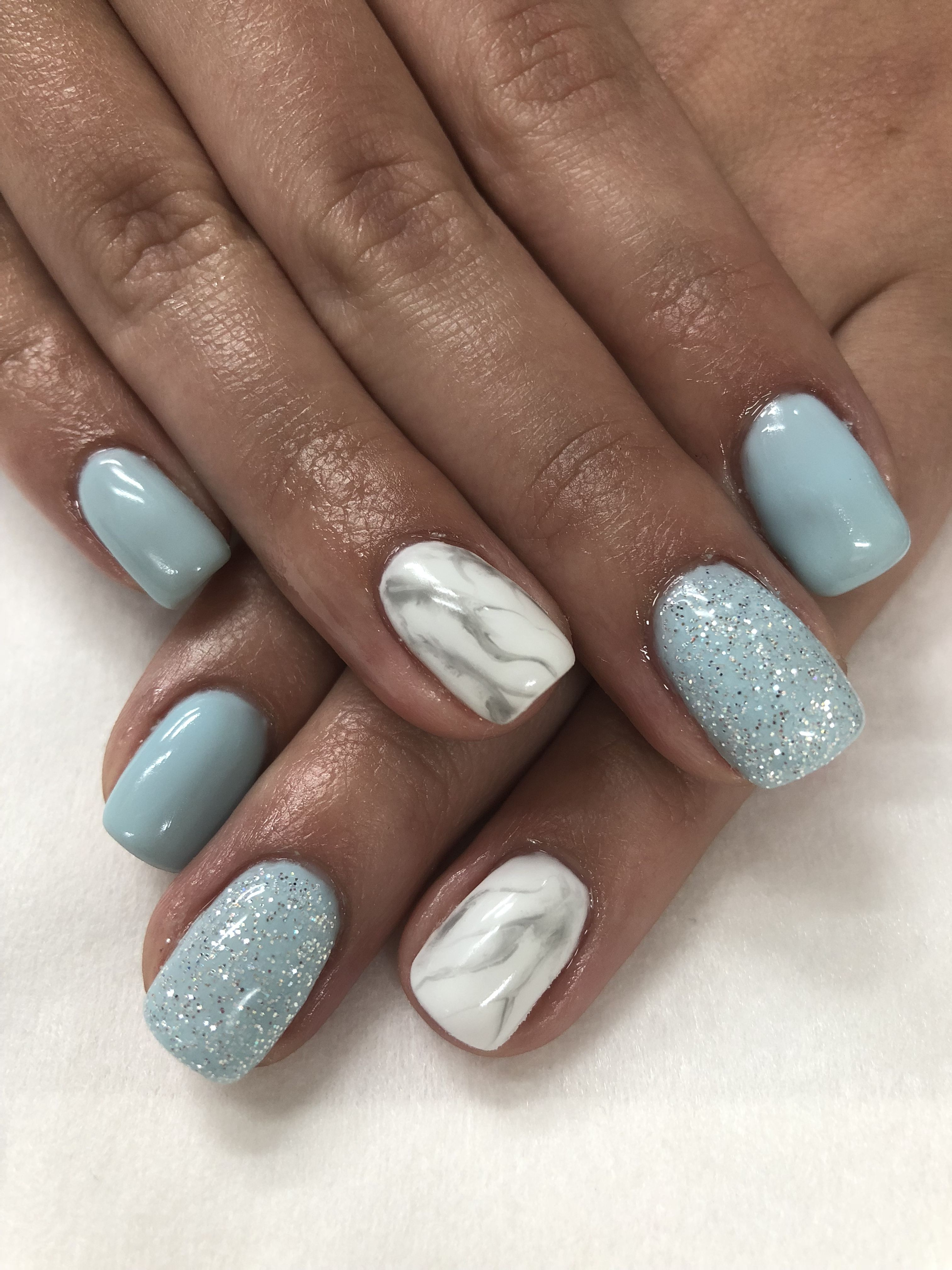 Baby Blue & White Marble Gel Nails | Spring/Easter nails | Pinterest ...