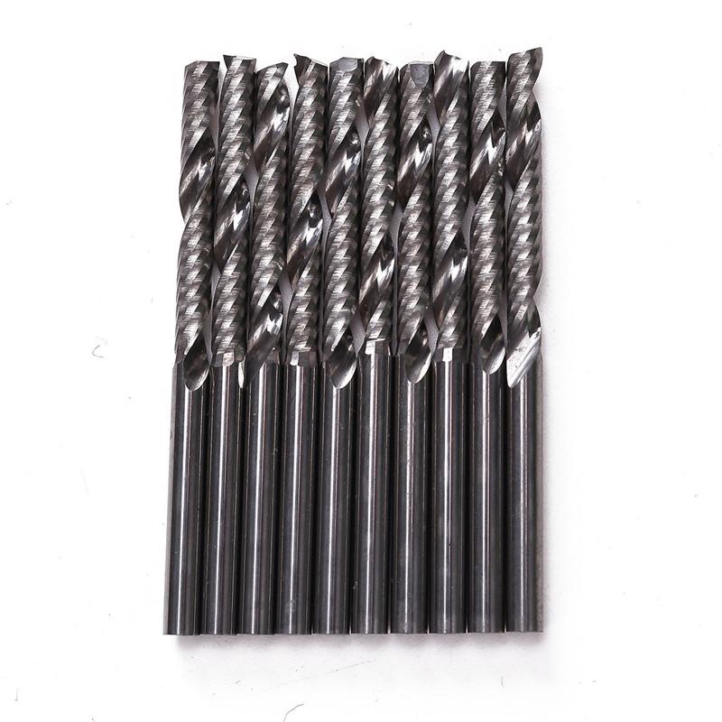 Set Of 10pcs Shank 1 Flute Carbide Spiral End Mill CNC Wood Cutting Router Bit