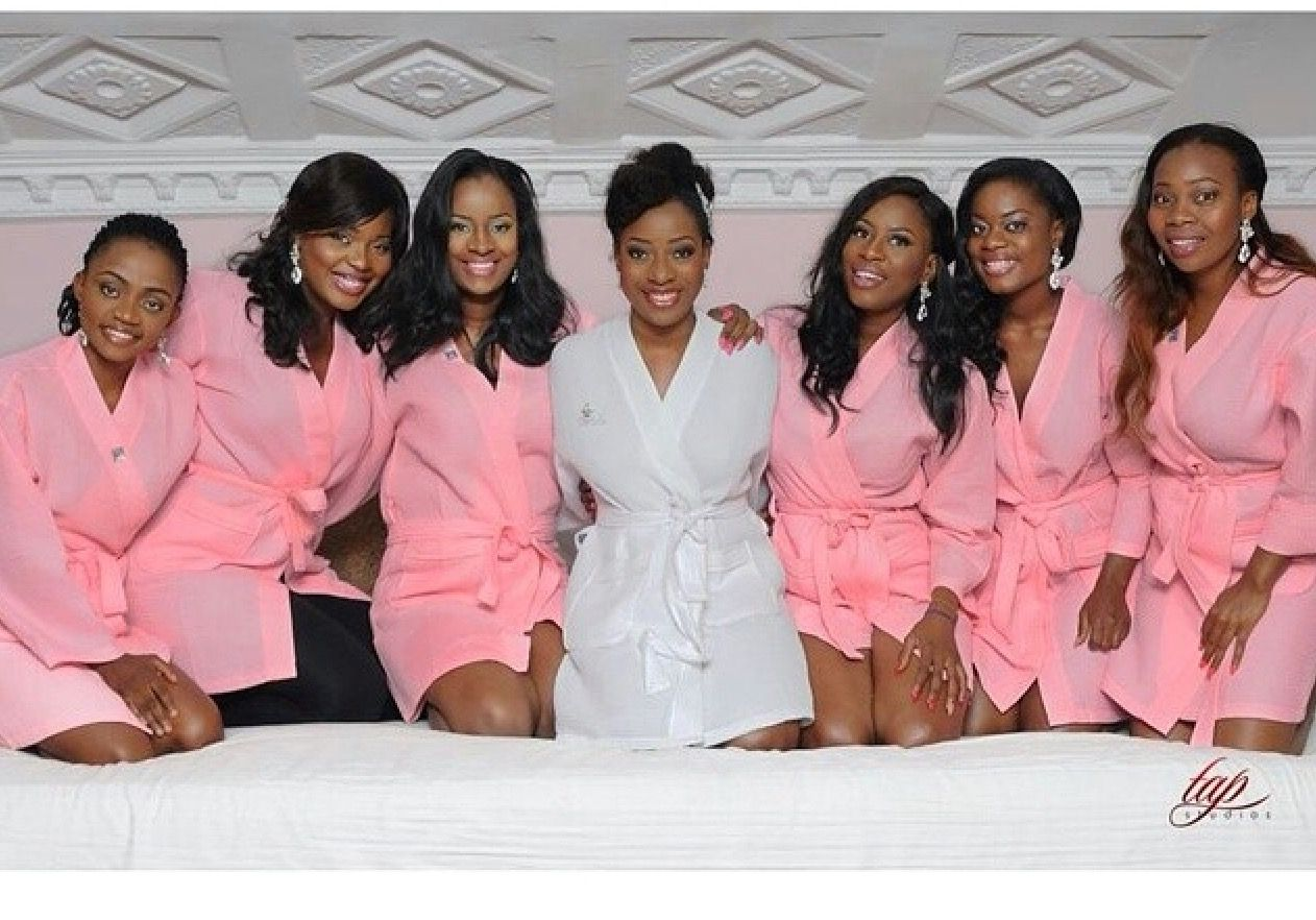 Sisi Yemmie And Her Bridesmaids In Robes Www Loveweddingsng Com Bridesmaid Robe Personalized Wedding Robes Bridesmaids Bridesmaid Photoshoot