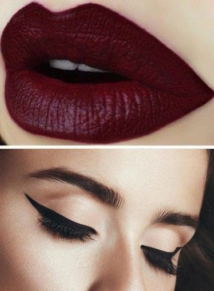 Wine Red Lips And Beautiful Eye Liner Makeup Makeup Bold