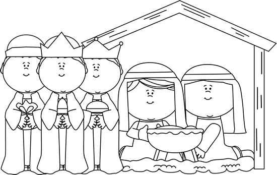 Clip Art Black And White Black And White Black And White Nativity Scene With Wise Men Nativity Scene Fun Projects For Kids Christmas Art