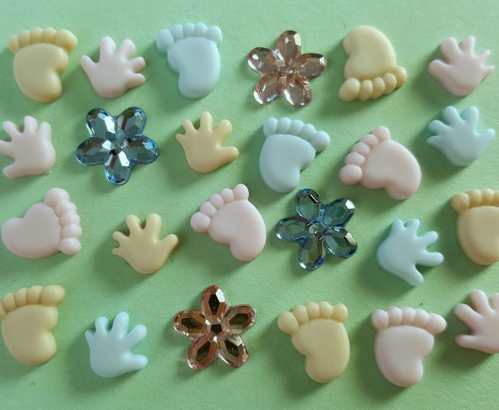 TEN TINY TOES Baby Hands Feet Boy Girl Dress It Up Flat-backed Craft Buttons