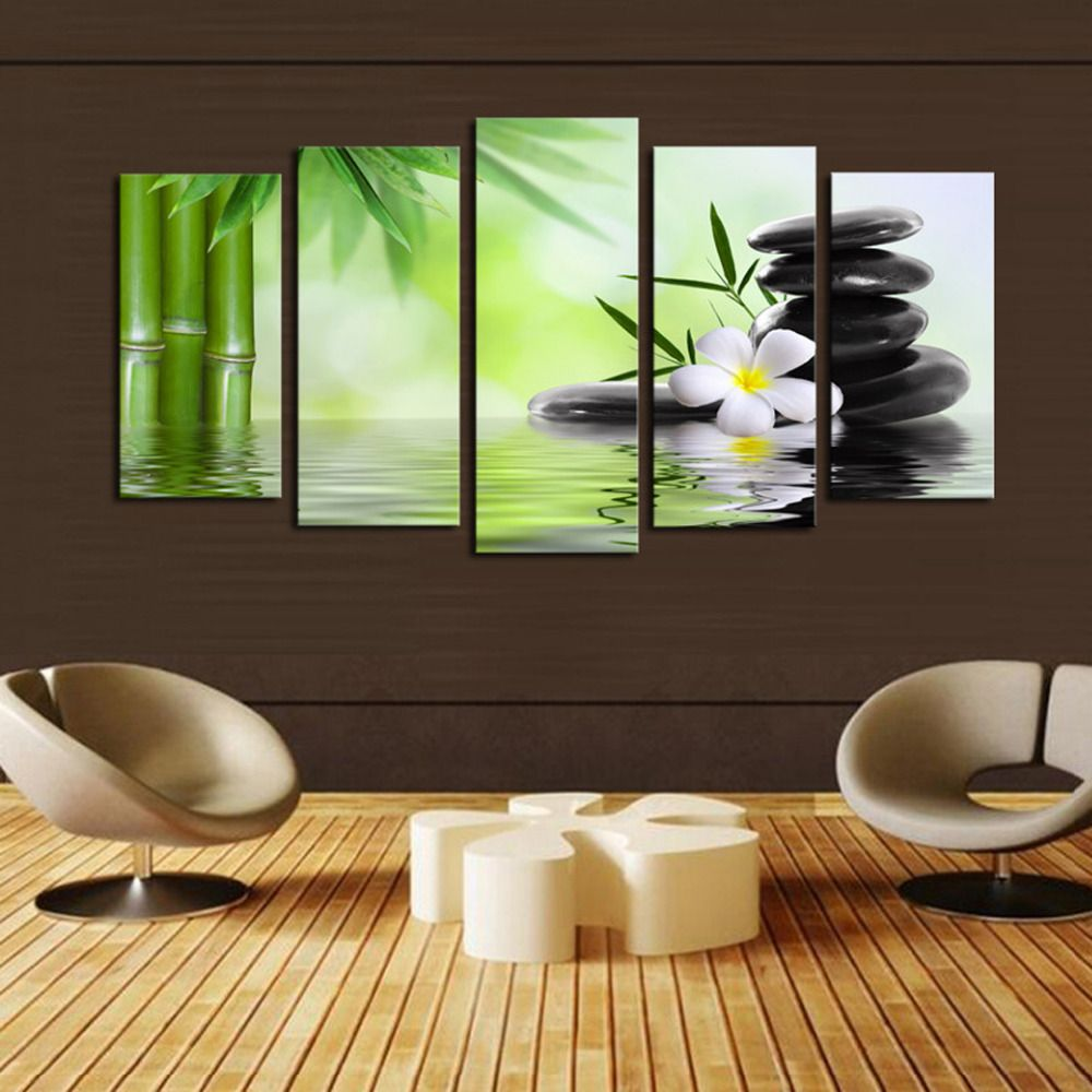 5 Panels Canvas Print Bamboo And Rock Painting On Canvas Wall Art Picture  Home Decor FIV006