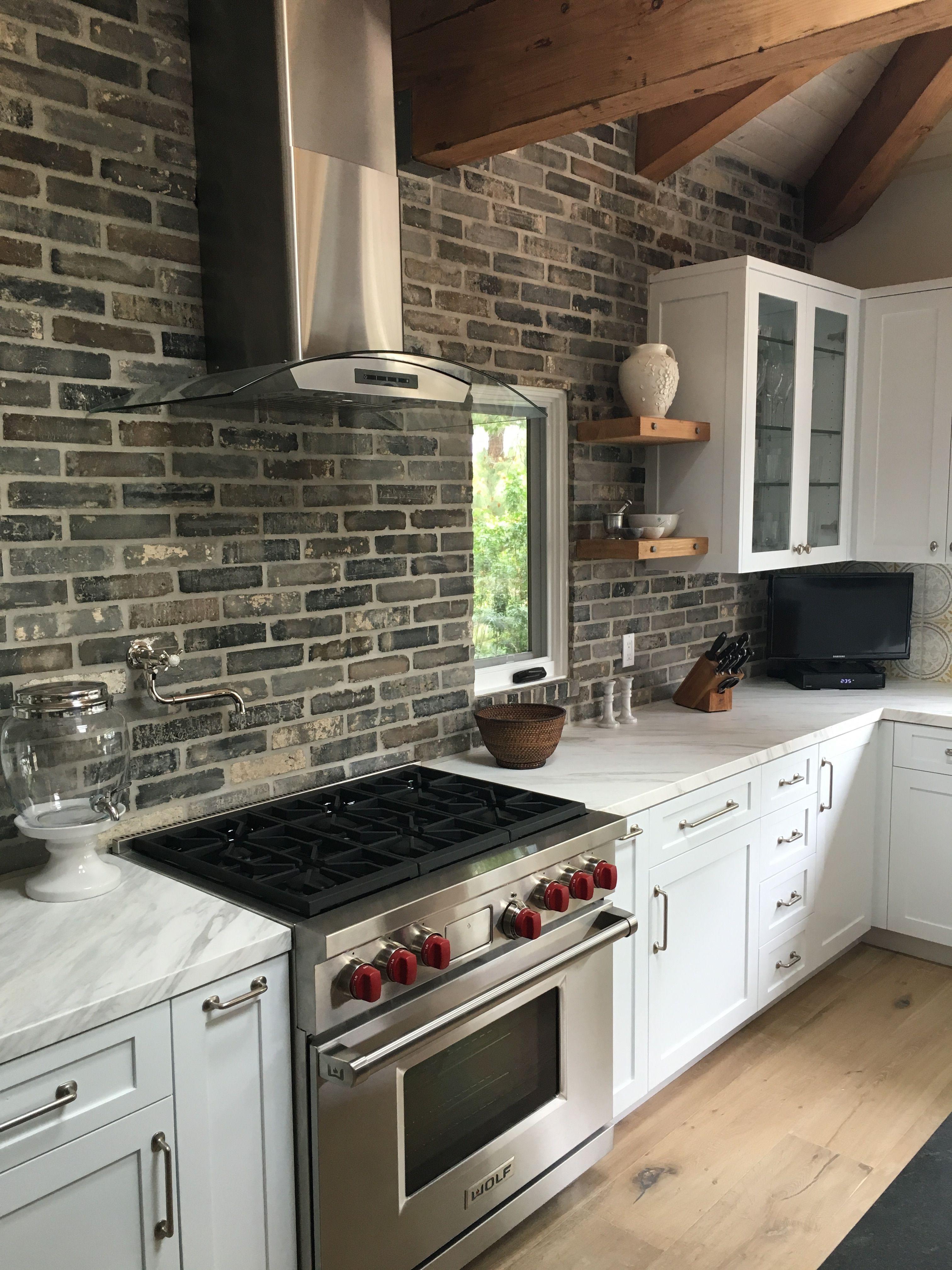 Reclaimed Brick Kitchen Backsplash In 2020 Brick Kitchen Gray Kitchen Backsplash Brick Backsplash Kitchen