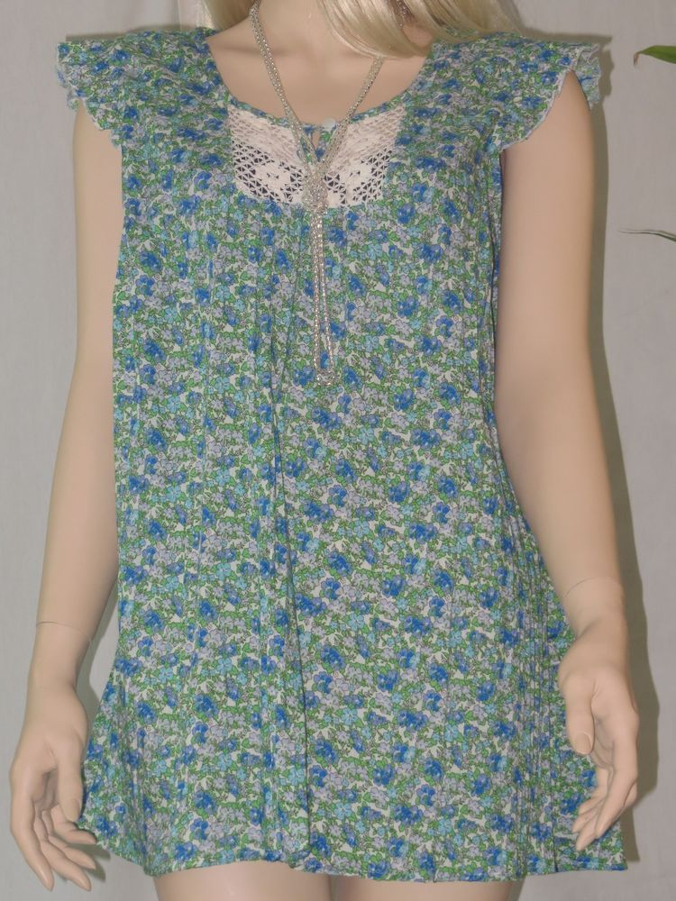 Womens Style Baby Doll Tunic Blouse W/Lace Front Applique&Sleeveless Ruffles NWT #ArtSoul #Tunic #Casual