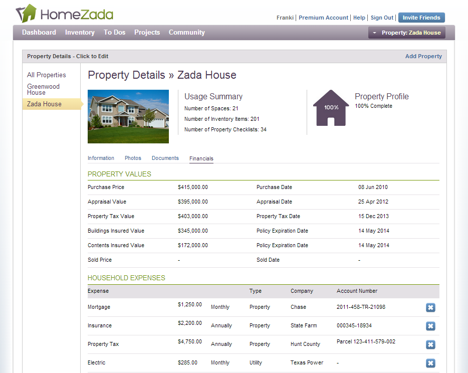 Home Finance Tracking Details - Homezada com | HomeZada Features