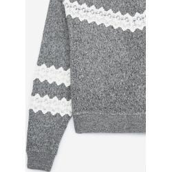 Photo of The Kooples – fleece gray sweatshirt with lace stripes – Herrenthekooples.com