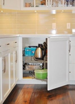 Blind corner or magic corner unit, is much more functional than a lazy susan. South Cambie, West 23rd Ave traditional-kitchen