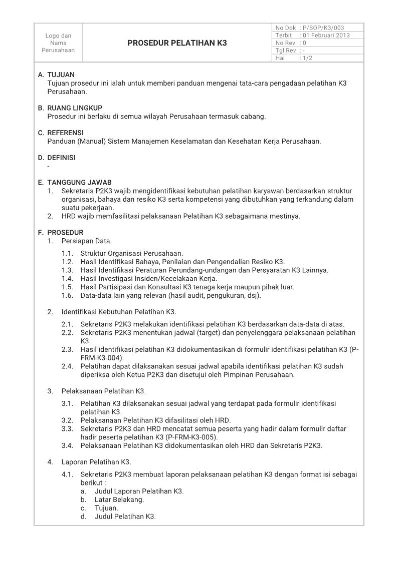Manajemen K3 Umum Prosedur K3 Latihan Komunikasi Pendidikan