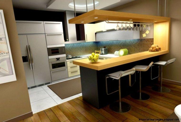 Cuisine avec bar en styles vari s pour un int rieur - Cuisine avec table bar ...