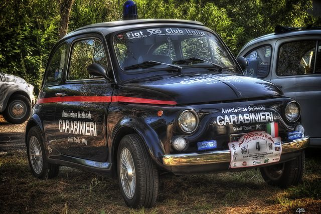 Italian police car Fiat 500 Carabinieri. Only in Italy
