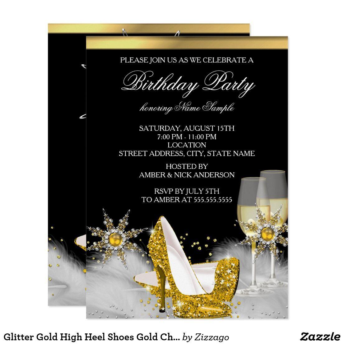 Glitter Gold High Heel Shoes