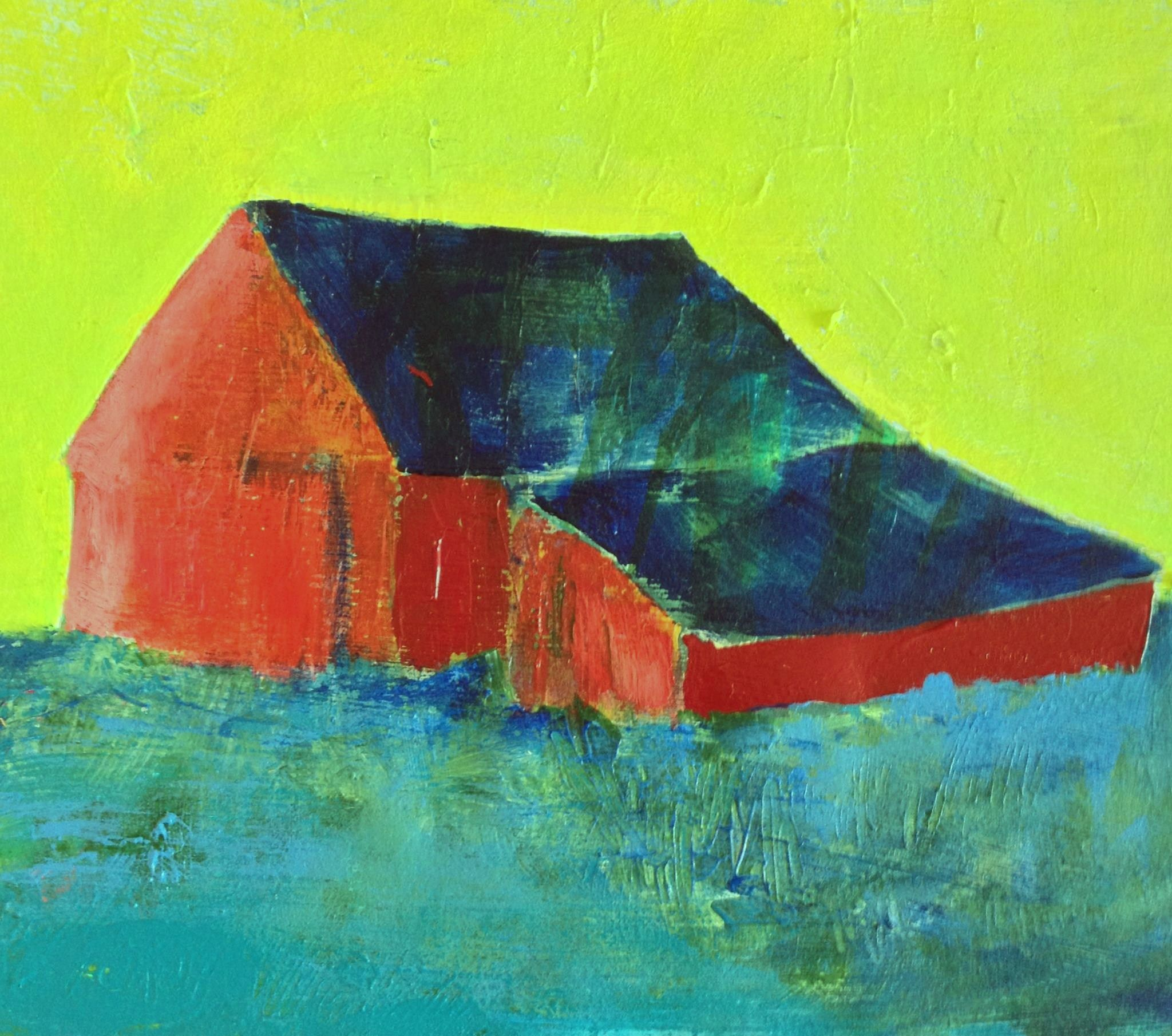 Dolly's Barn The Grass is Blue... original painting  at poroyart.com