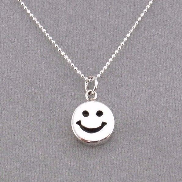 925 sterling silver happy smiley face pendant necklace jewelry new aloadofball