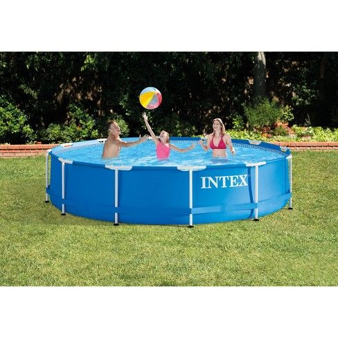 Intex 12 X 30 Metal Frame Set Above Ground Swimming Pool With