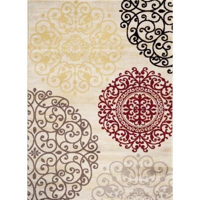 $149 World Rug Gallery Contemporary Modern Floral Cream 7 ft. 10 in. x 10 ft. 2 in. Indoor Area Rug-303 Cream 7'10