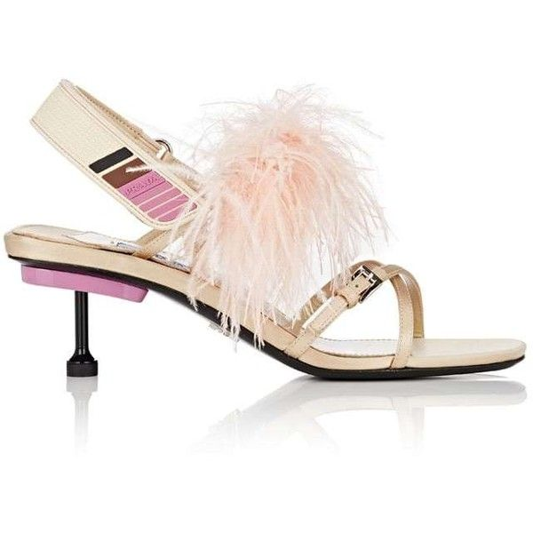 faab3884be7 Prada Women s Feather-Embellished Satin Slingback Sandals ( 499) ❤ liked on Polyvore  featuring shoes