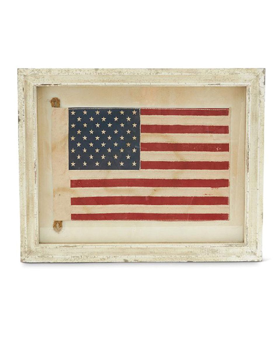Loving this White Vintage-Inspired American Flag Framed Wall Art on ...