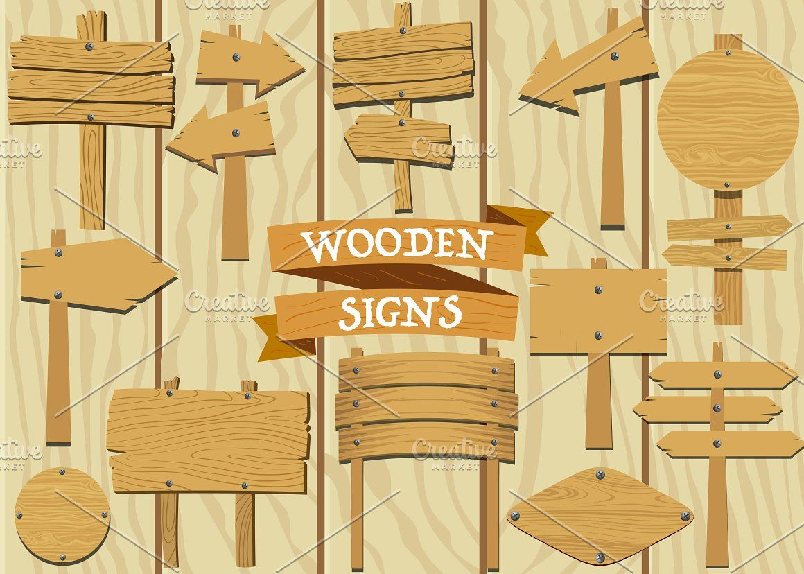 Wooden Signs Set Vector Wooden Signs Sign Mockup Business Card Design