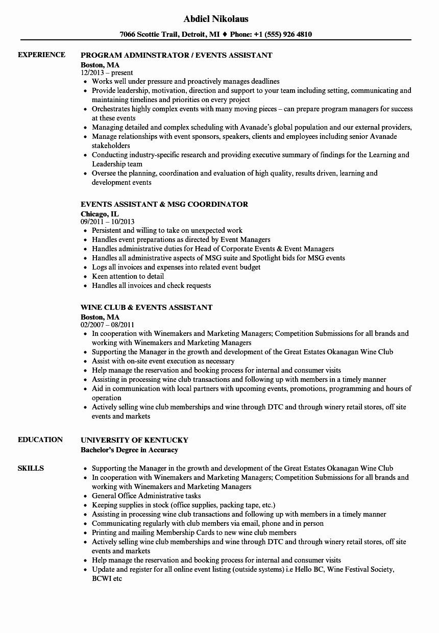 20 event Coordinator assistant Resume in 2020 Job resume