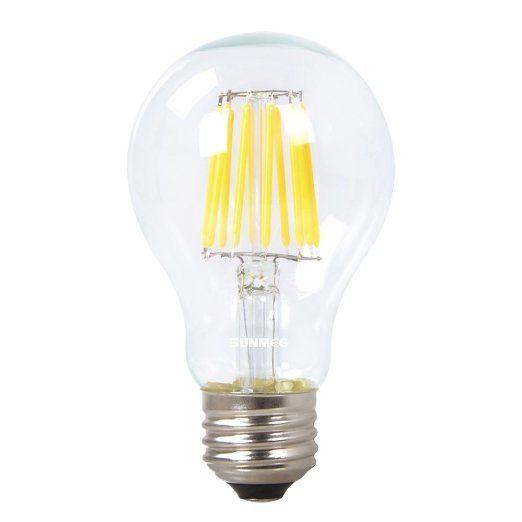 Sunmeg A19 10w Led Filament Bulb Replacement To 100w Incandescent Bulbs 1000 Lumens E26 Medium Base Warm White 2700k Filament Bulb Incandescent Bulbs Bulb