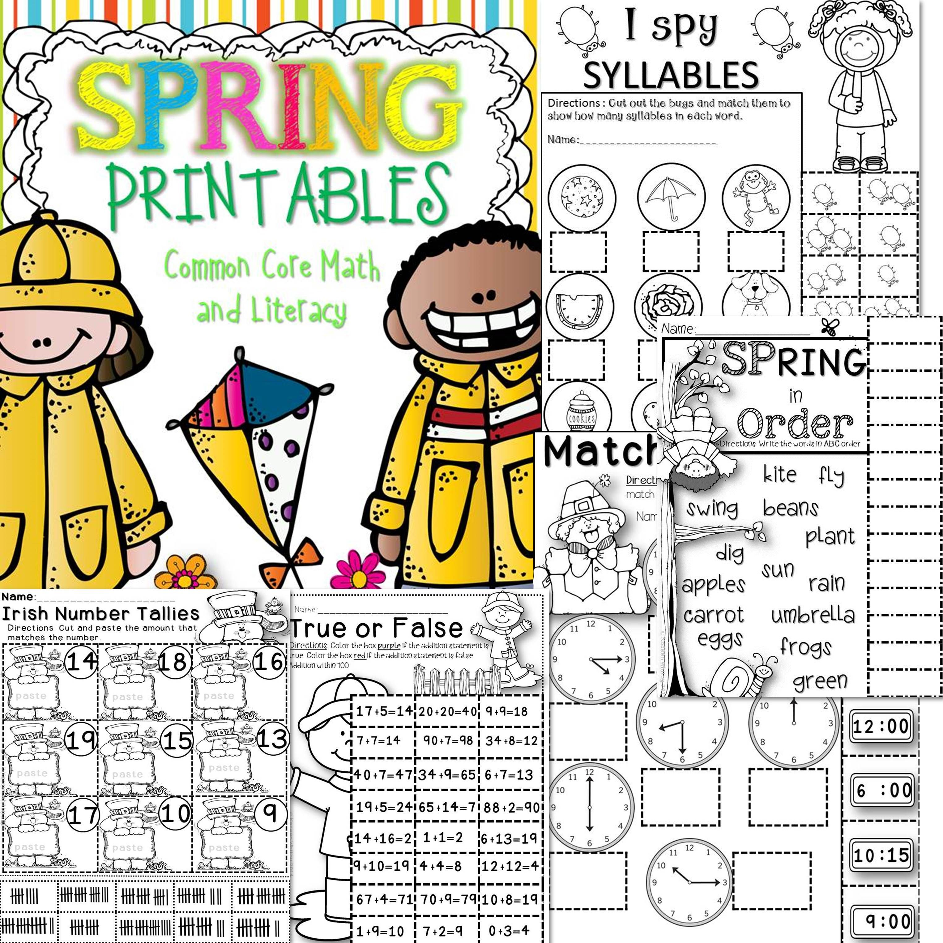 Spring Math And Literacy Printables Common Core Aligned